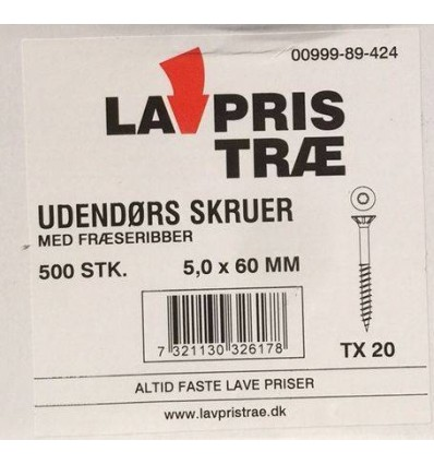 LP udendørsskrue 5,0x60mm - 500stk. tx20